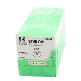 "ETHILON® Nylon Black Monofilament Non-Absorbable Suture, 6-0, PS-3, Precision Point-Reverse Cutting, 18"" - 12/Box"