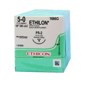 "ETHILON® Nylon Black Monofilament Non-Absorbable Suture, 5-0, PS-2, Precision Point-Reverse Cutting, 18"" - 12/Box"