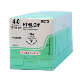 "ETHILON® Nylon Black Monofilament Non-Absorbable Suture, 4-0, PS-2, Precision Point-Reverse Cutting, 18"" - 12/Box"