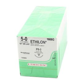 "ETHILON® Nylon Black Monofilament Non-Absorbable Suture, 5-0, PS-3, Precision Point-Reverse Cutting, 18"" - 12/Box"