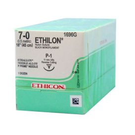 "ETHILON® Nylon Black Monofilament Non-Absorbable Suture, 7-0, P-1, Precision Point-Reverse Cutting, 18"" - 12/Box"