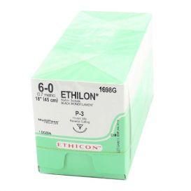 "ETHILON® Nylon Black Monofilament Non-Absorbable Suture, 6-0, P-3, Precision Point-Reverse Cutting, 18"" - 12/Box"