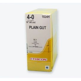"""Plain Gut Absorbable Suture, 4-0, SC-1, Straight Cutting, 18"""" - 36/Box"""