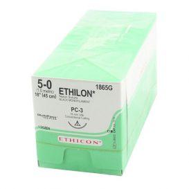 """ETHILON® Nylon Black Monofilament Non-Absorbable Suture, 5-0, PC-3, Precision Cosmetic-Conventional Cutting PRIME, 18"""" - 12/Box"""