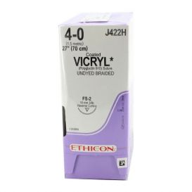 "VICRYL® Undyed Braided & Coated Absorbable Suture, 4-0, FS-2, Reverse Cutting, 27"" - 36/Box"