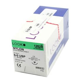 "Nylon Black Monofilament Non-Absorbable Suture, 6-0, C-3, Precision Reverse Cutting, 18"" - 12/Box"
