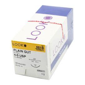 "Plain Gut Absorbable Suture, 4-0, C-6, Reverse Cutting, 27"" - 12/Box"
