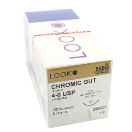 "Chromic Gut Absorbable Suture, 4-0, C-6, Reverse Cutting, 18"" - 12/Box"