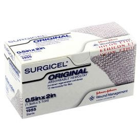 "SURGICEL® Original Absorbable Hemostat 0.5"" x 2"" (1.3cm x 5.1cm) - 12/Box"