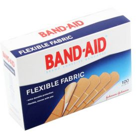 "BAND-AID® Brand Adhesive Bandages, Flexible Fabric, 3/4"" x 3"" - 100/Box"