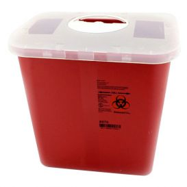 Sharps Container, 2 Gallon, Red w/Rotor Opening Lid - 20/Case