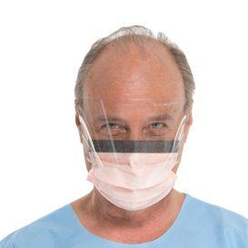 FLUIDSHIELD Level 3 Fog-Free Procedure Mask, w/Visor, Earloops, Orange - 25/Box