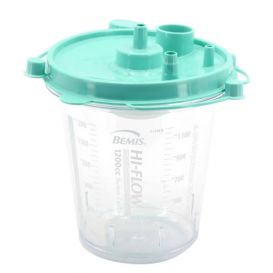 Hi-Flow™ Rigid Suction Canister (Green Lid), 1200 cc w/ Aerostat® Filter, Float Valve Shutoff and Two Elbows