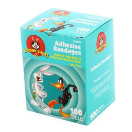"""Sheer Adhesive Bandages, Bugs & Daffy, 3/4"""" x 3"""" - 100/Box"""