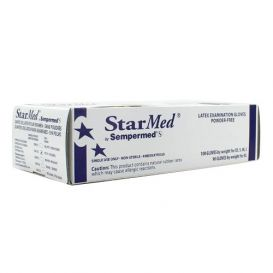 StarMed® Exam Gloves, Small, Latex, Powder-Free, Textured - 100/Box
