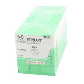 "ETHILON® Nylon Black Monofilament Non-Absorbable Suture, 5-0, PS-4, Precision Point-Reverse Cutting, 18"" - 12/Box"