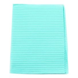 "Econoback® Patient Towels, 2-Ply Tissue with Poly, 19"" x 13"", Aqua - 500/Case"