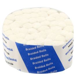 "Braided Cotton Rolls, 1 1/2"" with 3/8"" Diameter, Sterile, - 12/Box"