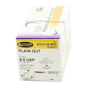 "Plain Gut Absorbable Suture, 5-0, C-3, Precision Reverse Cutting, 18"" - 12/Box"