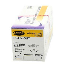 "Plain Gut Absorbable Suture, 3-0, C-6, Reverse Cutting, 27"" - 12/Box"