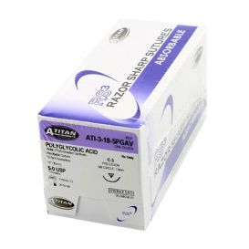 "PGA (Polyglycolic Acid) Violet Braided Absorbable Suture, 5-0, C-3, 18"" - 12/Box"