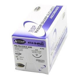 """PGA (Polyglycolic Acid) Violet Braided Absorbable Suture, 4-0, C-6, 18"""" - 12/Box"""
