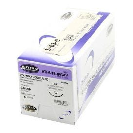 "PGA (Polyglycolic Acid) Violet Braided Absorbable Suture, 3-0, C-6, 18"" - 12/Box"