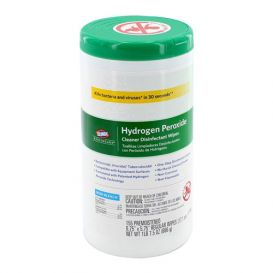 "Hydrogen Peroxide Cleaner Disinfectant Wipes, 6.75"" x 5.75"", 155/Canister - 155/Canister"