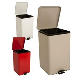 Step-On Metal Waste Can Square 20 qt Beige