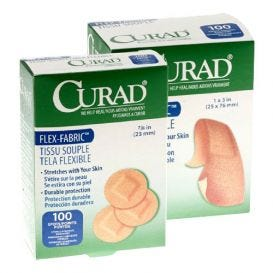 "Curad® Fabric Adhesive Bandages, 1"" x 3"", Latex-Free - 100/Box"