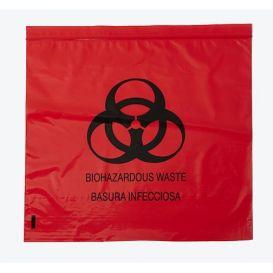 "Biohazard Red Bag 12"" x 12"" Ziplock 2.0 mil - 1000/Case"