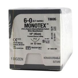 "MONOTEX® PTFE (Polytetrafluoroethylene) White Monofilament Non-Absorbable Suture, 6-0, P-3, Premium Reverse Cutting, 18"" - 12/Box"