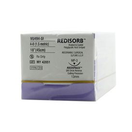 """RELI® REDISORB™ Polyglycolic Acid (PGA) Undyed Braided & Coated Suture, 4-0, PS-3 (C-3), Precision Reverse Cutting, 18"""" - 12/Box"""