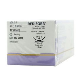 "RELI® REDISORB™ Polyglycolic Acid (PGA) Violet Braided & Coated Suture, 4-0, FS-2 (C-6), Reverse Cutting, 18"" - 12/Box"