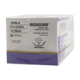 """RELI® REDISORB™ Polyglycolic Acid (PGA) Undyed Braided & Coated Suture, 4-0, PS-2 (PC-31), Precision Reverse Cutting, 18"""" - 12/Box"""
