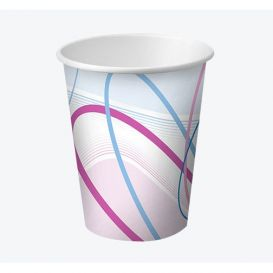 Disposable Paper Cups, 7 oz, Contemporary Design - 100/Sleeve