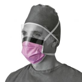 Fluid-Resistant Surgical Face Mask with Eyeshield ASTM Level 3 - 25/Box