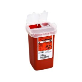 Phlebotomy SharpSafety™ 1-Piece 1 Quart Red Sharps Container w/Vertical Lid Entry - 100/Case