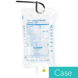 0.9% Sodium Chloride 500ml Plastic Bag for Injection - 24/Case