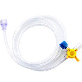"""Medex™ Stopcock 4-Way Hi-Flo™ w/ 33"""" Standard Bore Extension Tubing - 50/Case"""