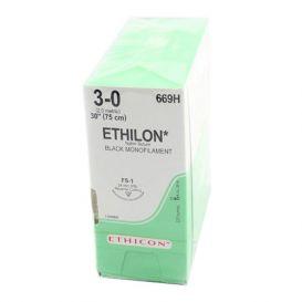 "ETHILON® Nylon Black Monofilament Non-Absorbable Suture, 3-0, FS-1, Reverse Cutting, 30"" - 36/Box"