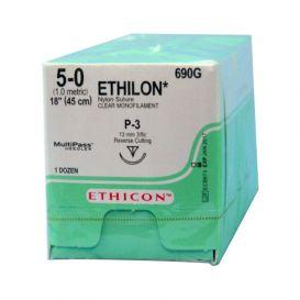 "ETHILON® Nylon Undyed Monofilament Non-Absorbable Suture, 5-0, P-3, Precision Point-Reverse Cutting, 18"" - 12/Box"