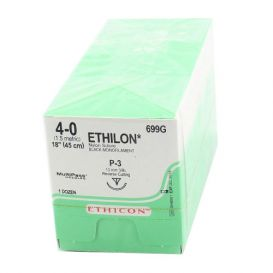 "ETHILON® Nylon Black Monofilament Non-Absorbable Suture, 4-0, P-3, Precision Point-Reverse Cutting, 18"" - 12/Box"