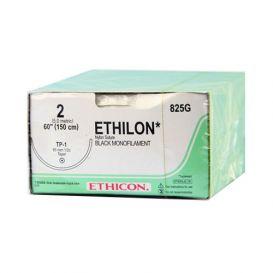 "ETHILON® Nylon Black Monofilament Non-Absorbable Suture, 2-0, TP-1, Taper Point, 60"" - 12/Box"