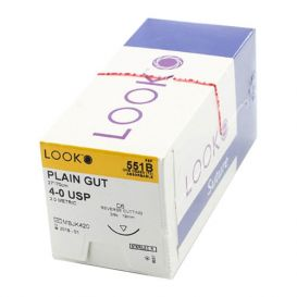 "Plain Gut Absorbable Suture, 4-0, C-6, Reverse Cutting, 27"" - 12/Box"