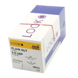"Plain Gut Absorbable Suture, 3-0, C-6, Reverse Cutting, 18"" - 12/Box"