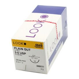 "Plain Gut Absorbable Suture, 3-0, C-31, Reverse Cutting, 18"" - 12/Box"