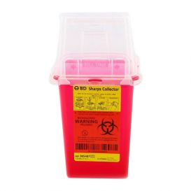 Sharps Collector, 1.5 Quart (Phlebotomy), Red Base, Natural Top -