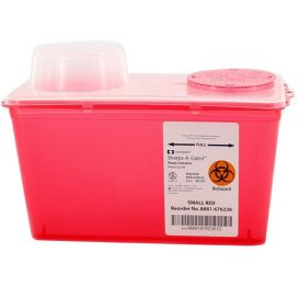 Sharps-A-Gator™ Sharps Container, 4 Quart, Red, Chimney Top