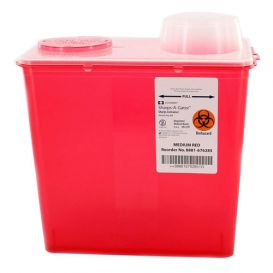Sharps-A-Gator™ Sharps Container, 8 Quart, Red, Chimney Top -